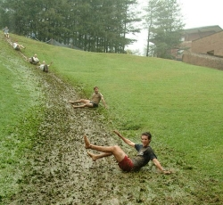 ASU students enjoying mud hill on campus